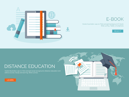 Illustration pour Vector illustration. Flat backgrounds set. Distance education and learning. Online courses and web school. Knowledge and information. Study process. E-learning. - image libre de droit