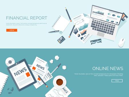 Illustration pour Vector illustration. Flat backgrounds set. Online news. Newsletter and information. Business and market news. Financial report. - image libre de droit