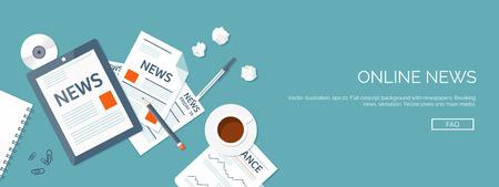 Illustration pour Vector illustration. Flat header. Online news. Newsletter and information. Business and market news. Financial report. - image libre de droit