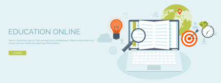 Illustration pour Vector illustration. Flat header. Distance education and learning. Online courses and web school. Knowledge and information. Study process. E-learning. - image libre de droit