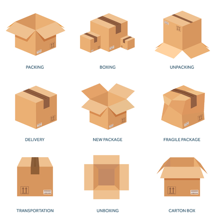 Illustration pour Vector illustration. Flat carton box. Transport, packaging, shipment. Post service and delivery. - image libre de droit