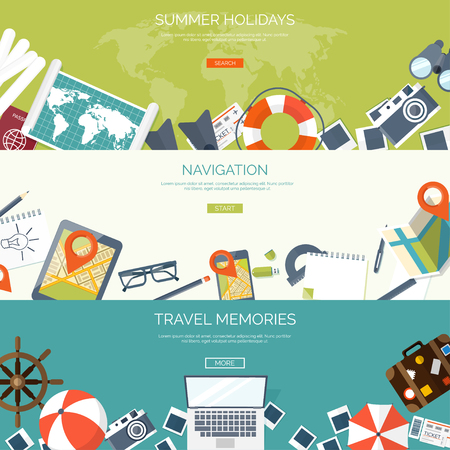 Illustration pour Flat travel background. Summer holidays, vacation. Plane, boat, car  traveling. Tourism, trip  and journey. - image libre de droit