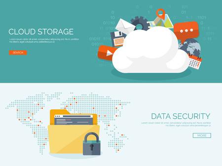 Illustration pour Vector illustration. Flat cloud computing background. Data storage network technology. Multimedia content and web sites hosting. Memory, information transfer. - image libre de droit