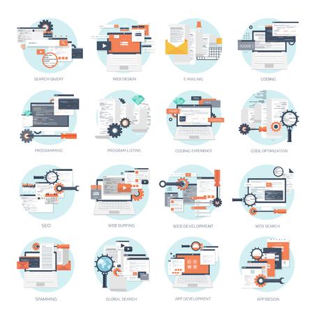 Illustration for Vector illustration. Flat background. Coding, programming. SEO. Search engine optimization. App development and creation. Software, program code. Web design. - Royalty Free Image