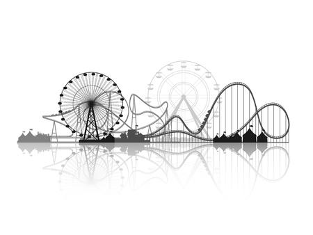 Illustration pour Vector illustration. Ferris wheel. Carnival. Funfair background. Circus park.  Skyscrapers with roller coast. - image libre de droit