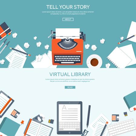 Ilustración de Vector illustration.  Flat typewrite. Tell your story. Author. Blogging. - Imagen libre de derechos