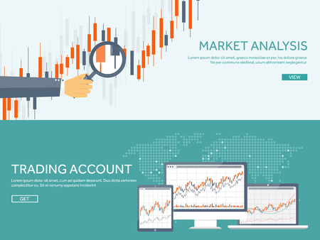 Ilustración de Vector illustration. Flat background. Market trade. Trading platform ,account. Moneymaking,business. Analysis. Investing. - Imagen libre de derechos