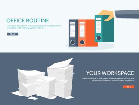 Illustration pour Vector illustration. Flat background Paperwork ,office routine, documents. Workspace. Hand with folders. - image libre de droit