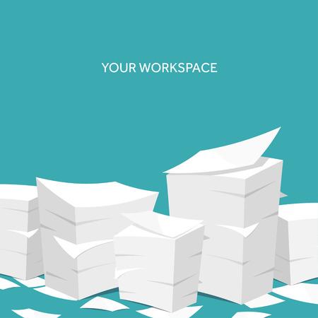 Ilustración de Vector illustration. Flat background Paperwork ,office routine, documents. Workspace. - Imagen libre de derechos