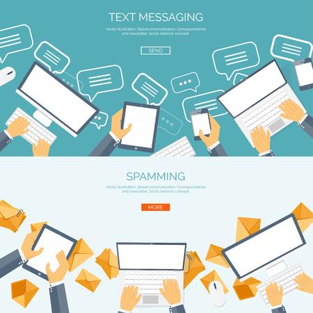 Foto de Vector illustration.  Global communication. Social network ,chatting. Emailing and sms. Web calls. Internet. - Imagen libre de derechos