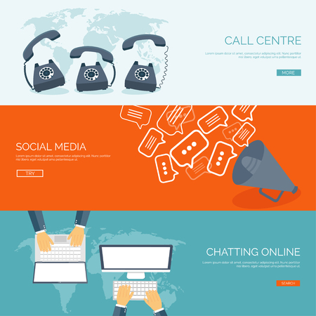 Ilustración de Vector illustration.  Global communication. Social network ,chatting. Emailing and sms. Web calls. Internet. - Imagen libre de derechos
