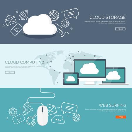 Photo pour Vector illustration. Flat cloud computing background. Data storage network technology. Multimedia content and web sites hosting. Memory, information transfer. - image libre de droit