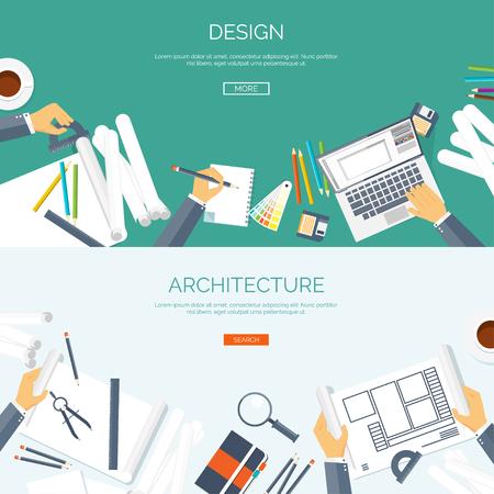 Foto de Vector illustration. Flat architectural project. Teamwork. Building and planning. Construction. Pencil, hand. Architecture ,design. - Imagen libre de derechos