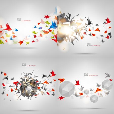 Illustration pour Origami paper bird on abstract background. Carton, handmade. - image libre de droit