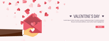 Illustration pour Vector illustration. Flat background with envelope. Love, hearts. Valentines day. Be my valentine. 14 february.  Message. - image libre de droit
