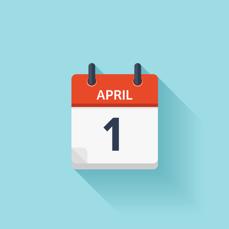 Illustration pour April 1. Vector flat daily calendar icon. Date and time, day, month. Holiday. - image libre de droit