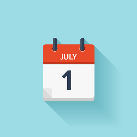 Illustration pour July  1. Vector flat daily calendar icon. Date and time, day, month. Holiday. - image libre de droit