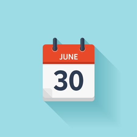 Illustration pour June 30 . Vector flat daily calendar icon. Date and time, day, month. Holiday. - image libre de droit