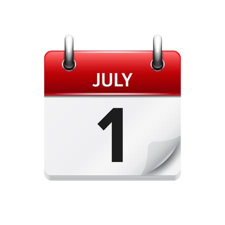 Ilustración de July  1. Vector flat daily calendar icon. Date and time, day, month. Holiday. - Imagen libre de derechos