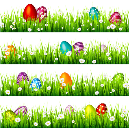 Illustration for Easter egg on the green grass. Seasonal holidays in April.Flowers.Banner. - Royalty Free Image