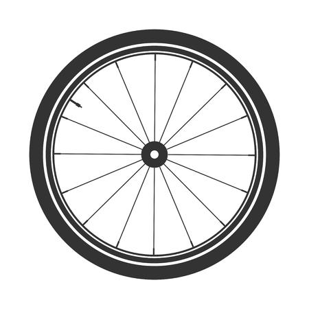 Ilustración de Bicycle wheel symbol,vector. Bike rubber. Mountain tyre. Valve. Fitness cycle.MTB. Mountainbike. - Imagen libre de derechos