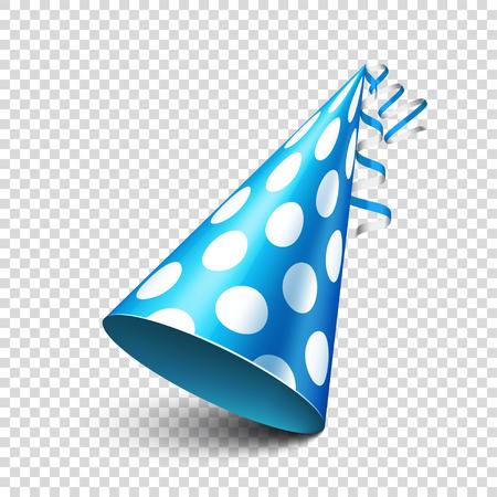 Illustration pour Party shiny hat with ribbon. Holiday decoration.Celebration.Birthday.Vector illustration on transparent background. - image libre de droit
