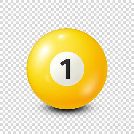 Ilustración de Billiard,yellow pool ball with number 1.Snooker. Transparent background.Vector illustration. - Imagen libre de derechos