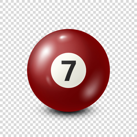 Illustration pour Billiard,red pool ball with number 7.Snooker. Transparent background.Vector illustration. - image libre de droit