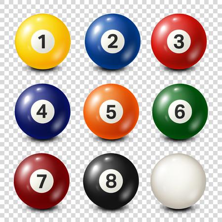 Illustration pour Billiard,pool balls collection. Snooker. Transparent background. Vector illustration. - image libre de droit