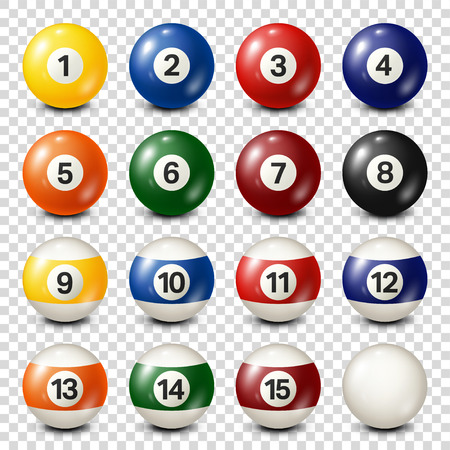 Ilustración de Billiard,pool balls collection. Snooker. Transparent background. Vector illustration. - Imagen libre de derechos