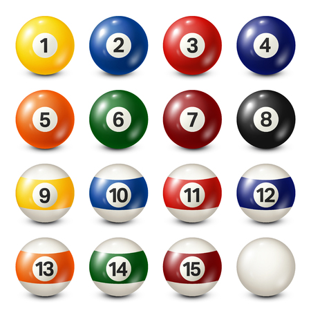 Ilustración de Billiard,pool balls collection. Snooker. White background. Vector illustration. - Imagen libre de derechos