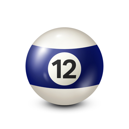 Ilustración de Billiard,blue pool ball with number 12.Snooker. Transparent background.Vector illustration. - Imagen libre de derechos
