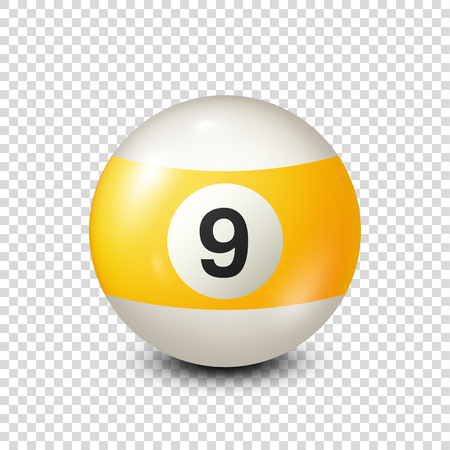 Illustration pour Billiard,yellow pool ball with number 9.Snooker. Transparent background.Vector illustration. - image libre de droit