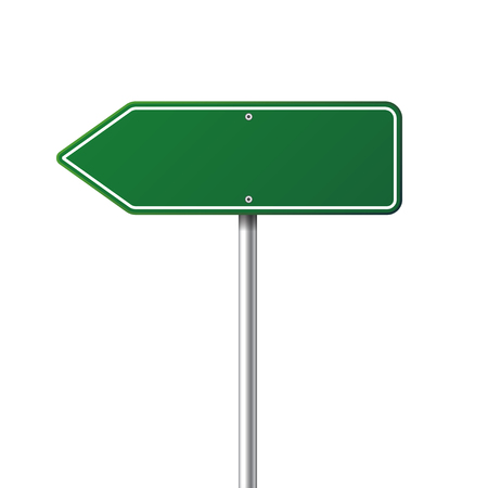 Illustration for Road green traffic sign. Blank board with place for text.Mockup. Isolated information sign. Direction. Vector illustration. - Royalty Free Image