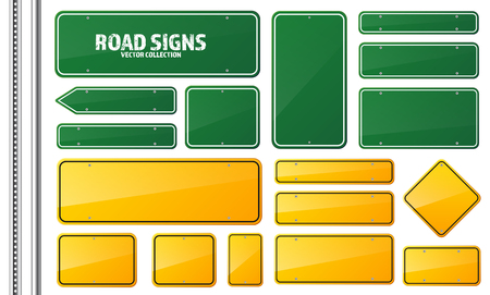 Illustration pour Road green and yellow traffic sign. Blank board with place for text.Mockup. Isolated information sign. Direction. Vector illustration. - image libre de droit