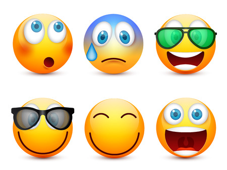 Ilustración de Smiley with blue eyes,emoticon set. Yellow face with emotions. Facial expression. 3d realistic emoji. Sad,happy,angry faces.Funny cartoon character.Mood.Vector illustration. - Imagen libre de derechos