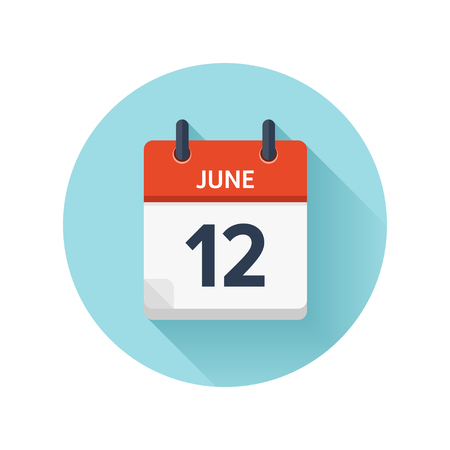 Illustration pour June 12. Vector flat daily calendar icon. Date and time, day, month 2018. Holiday. Season. - image libre de droit