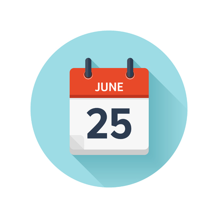 Illustration pour June 25. Vector flat daily calendar icon. Date and time, day, month 2018. Holiday. Season. - image libre de droit