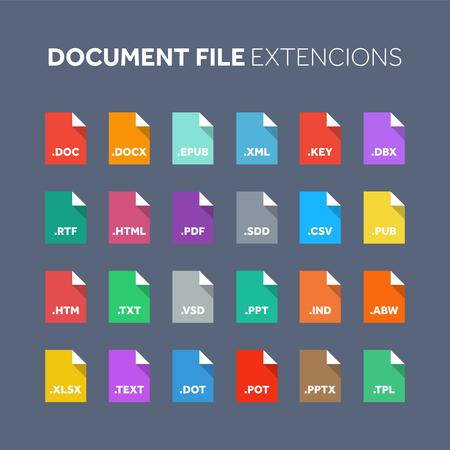 Ilustración de Flat style icon set. Source code, programming file type, extension. Document format. Pictogram. Web and multimedia. Computer technology. - Imagen libre de derechos