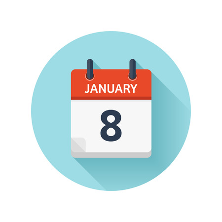 Illustration pour January 8. Vector flat daily calendar icon. Date and time, day, month 2018. Holiday. Season. - image libre de droit