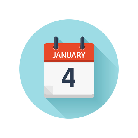 Illustration pour January 4. Vector flat daily calendar icon. Date and time, day, month 2018. Holiday. Season. - image libre de droit