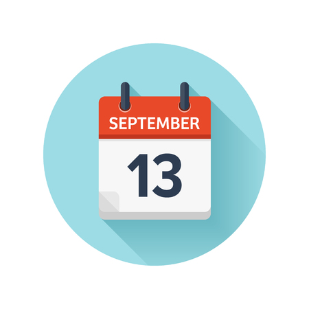 Illustration pour September 13. Vector flat daily calendar icon. Date and time, day, month 2018. Holiday. Season. - image libre de droit