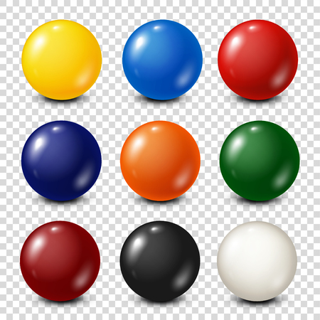 Illustration pour Lottery, billiard,pool balls collection. Snooker. Transparent background. Vector illustration. - image libre de droit