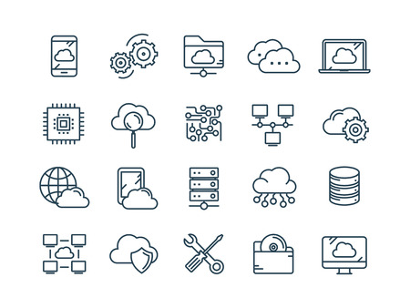 Ilustración de Cloud omputing. Internet technology. Online services. Data, information security. Connection. Thin line web icon set. Outline icons collection.Vector illustration. - Imagen libre de derechos
