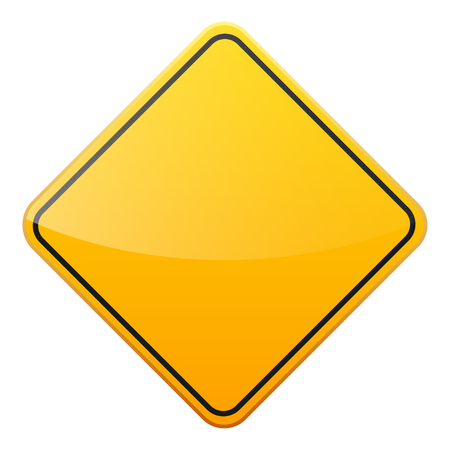 Illustration pour Road yellow sign on white background. Road traffic control.Lane usage. Stop and yield. Regulatory sign. - image libre de droit