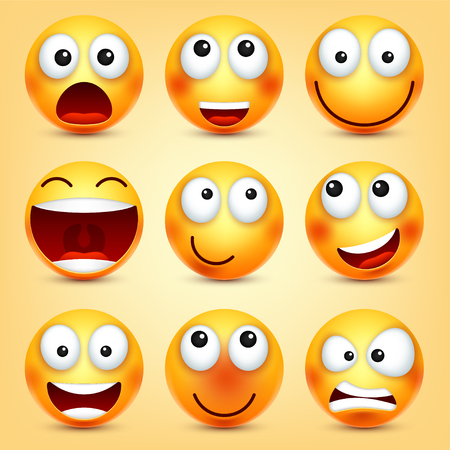 Illustration pour Smiley,emoticons set. Yellow face with emotions. Facial expression. 3d realistic emoji. Funny cartoon character.Mood. Web icon. Vector illustration. - image libre de droit