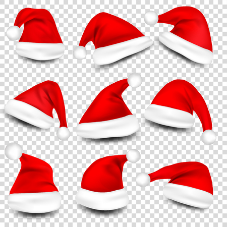 Illustration pour Christmas Santa Claus Hats With Shadow Set. New Year Red Hat Isolated on Transparent Background. Vector illustration. - image libre de droit