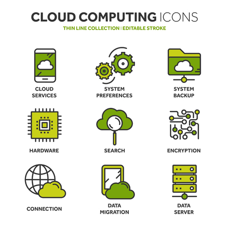 Illustration pour Cloud computing. Internet technology. Online services. Data, information security. Connection. Thin line blue web icon set. Outline icons collection.Vector illustration. - image libre de droit