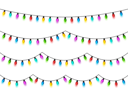 Illustration pour Christmas glowing lights on white background. Garlands with colored bulbs. Xmas holidays. Christmas greeting card design element. New year,winter. - image libre de droit
