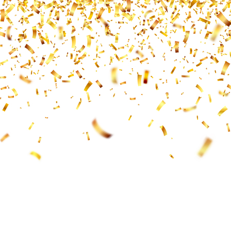 Illustration pour Christmas golden confetti. Falling shiny confetti glitters in gold color. - image libre de droit
